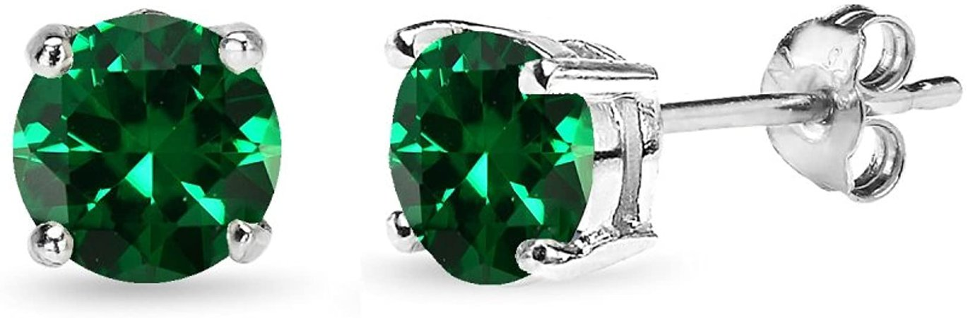 Amazon.com: Sterling Silver Synthetic Green Quartz 6mm Round-Cut Solitaire Stud Earrings: Clothing