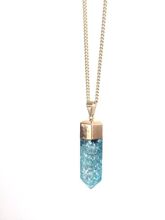 Blue Ice Crystal Necklace   Etsy