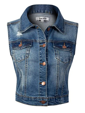 Design by Olivia Women's Sleeveless Button up Jean Denim Jacket Vest at Amazon Women's Coats Shop