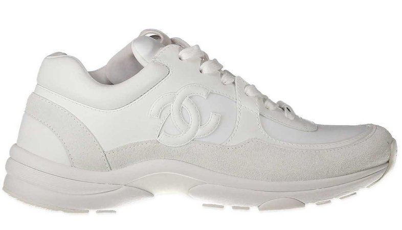 Chanel triple white sneakers