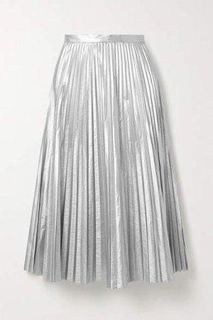 Pleated Metallic Shell Midi Skirt - Silver