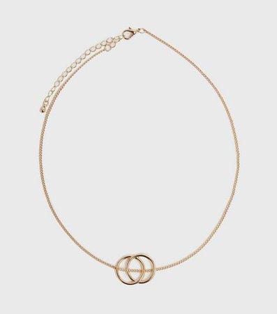 Gold Double Circle Pendant Necklace | New Look