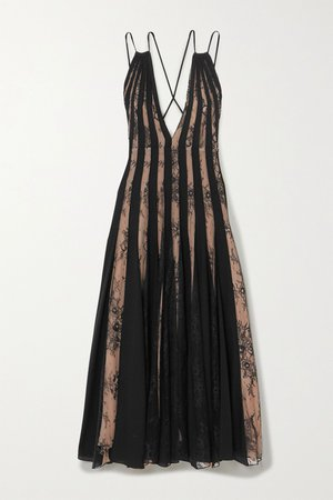 Black Tulle and lace-paneled pleated silk-voile midi dress | Oscar de la Renta | NET-A-PORTER