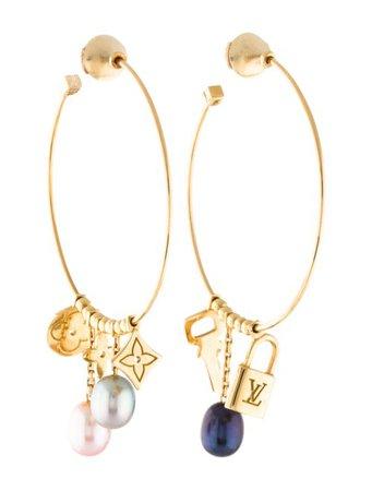 Louis Vuitton 18K Pearl Monogram Hoop Earrings - Earrings - LOU206904   The RealReal