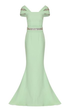 Abigail Crystal-Embellished Stretch-Crepe Gown By Safiyaa | Moda Operandi