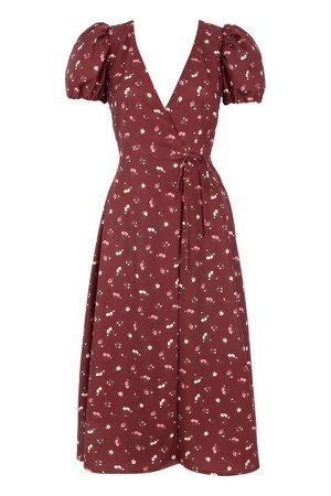 Clothing : Midi Dresses : 'Justina' Wine Floral Wrap Dress