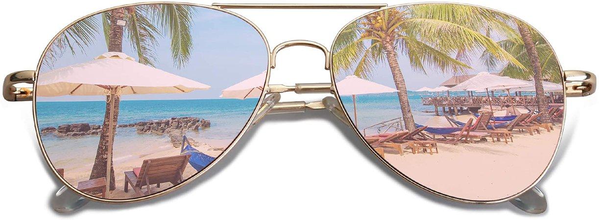 Amazon.com: SOJOS Classic Aviator Sunglasses for Women Men Metal Frame Spring Hinges SJ1030, Gold/Pink: Clothing