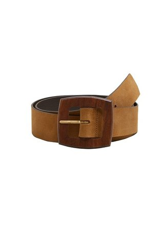 MANGO Wood buckle leather belt