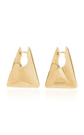 Gold-Plated Triangle Hoop Earrings By Bottega Veneta | Moda Operandi