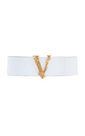 Baroque V Wide Leather Belt by Versace   Moda Operandi