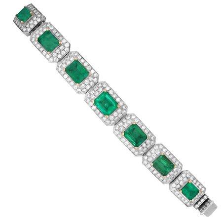 Emerald and Diamond White Gold Bracelet