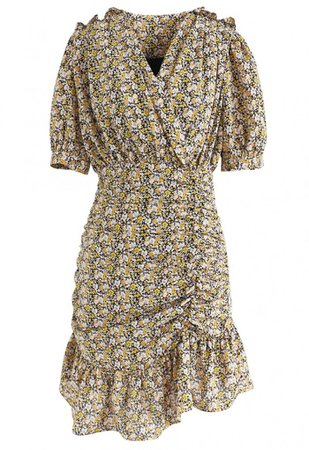 Floret Ruffle Ruched Midi Dress in Yellow - NEW ARRIVALS - Retro, Indie and Unique Fashion