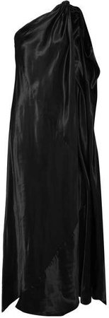 One-shoulder Satin Maxi Dress - Black