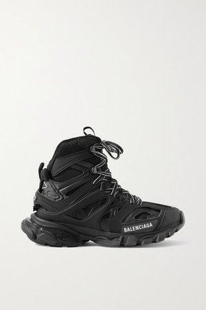 Track Hike Logo-detailed Mesh And Rubber High-top Sneakers - Black