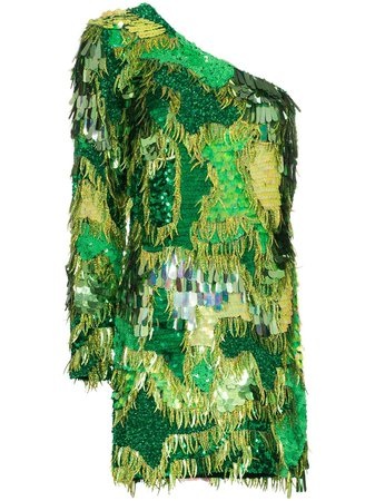 Shop green Ashish sequin-embellished asymmetric mini dress with Express Delivery - Farfetch