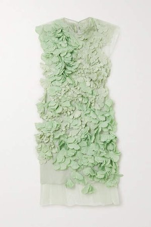 Appliqued Tulle Mini Dress - Green