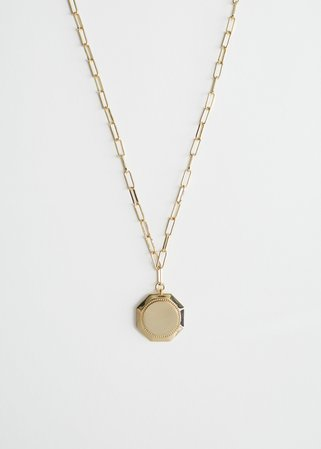 Embossed Pendant Chain Necklace - Gold - Necklaces - & Other Stories