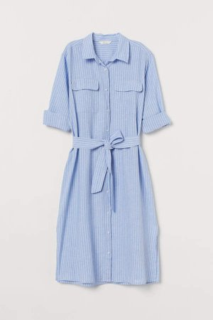 Linen-blend Shirt Dress - Blue