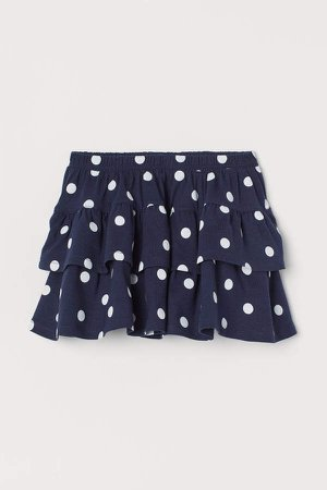Patterned Tiered Skirt - Blue
