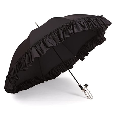 The Nirvana Umbrella Frilly Long Black Umbrella | Gizelle Renee | Wolf & Badger
