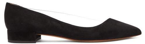 Point Toe Suede And Pvc Flats - Womens - Black
