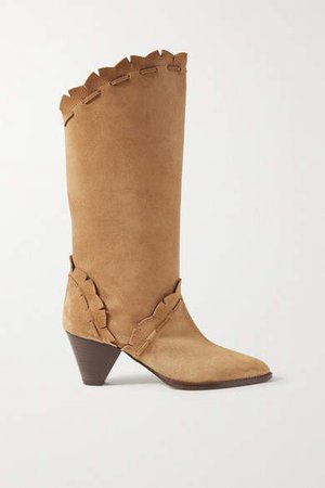 Leesta Scalloped Topstitched Suede Boots - Tan