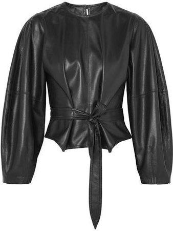 Corsa Tie-detailed Vegan Leather Blouse - Black