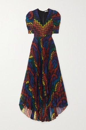 Alice Olivia - Haven Pleated Printed Chiffon Maxi Dress - Blue