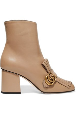 Gucci | Marmont fringed logo-embellished leather ankle boots | NET-A-PORTER.COM