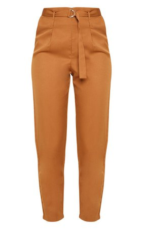 Camel Double Belt Tapered Trouser | Trousers | PrettyLittleThing USA