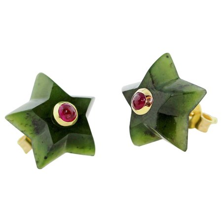 AVGVSTA 18 Karat Yellow Gold Jade and Ruby Star Stud Earrings