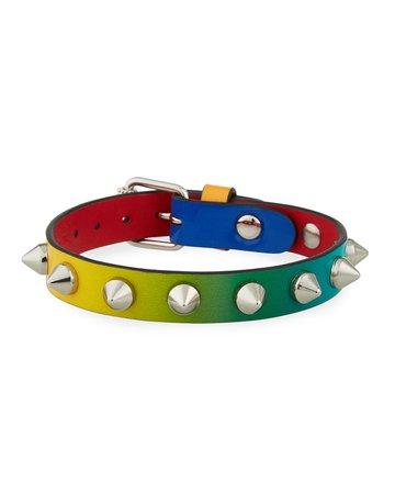 Christian Louboutin Loubilink Sunrise Spikes Leather Bracelet