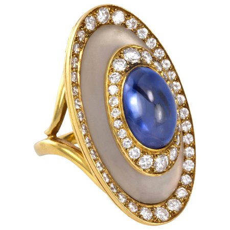 1970s Bulgari, Sapphire, Diamond, Rock Crystal and Gold Ring For Sale at 1stdibs