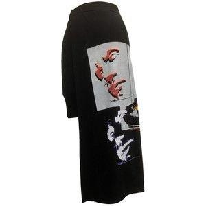 Black Asymmetrical Skirt With A Face