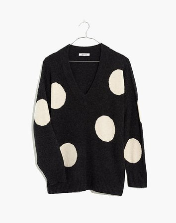 Dotted Bartlett V-Neck Pullover Sweater in Coziest Yarn