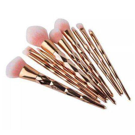 Kit 10 Pincéis De Maquiagem Diamante Gold Rose nas Lojas Americanas.com
