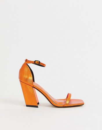 ASOS DESIGN Highgate barely there block heeled sandals in copper | ASOS