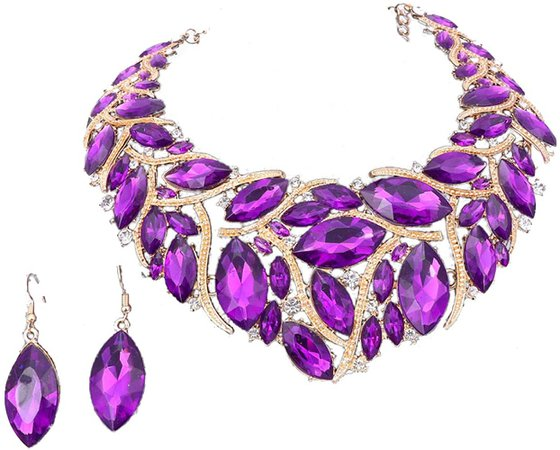 Amazon.com: African Beads Jewelry Sets Women Bridal Crystal Statement Necklace Earring Jewelry Sets (Purple): Clothing