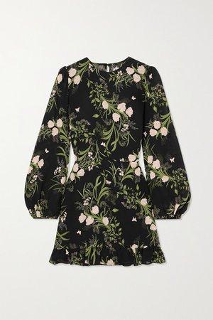 Resnick Ruffled Floral-print Georgette Mini Dress - Black