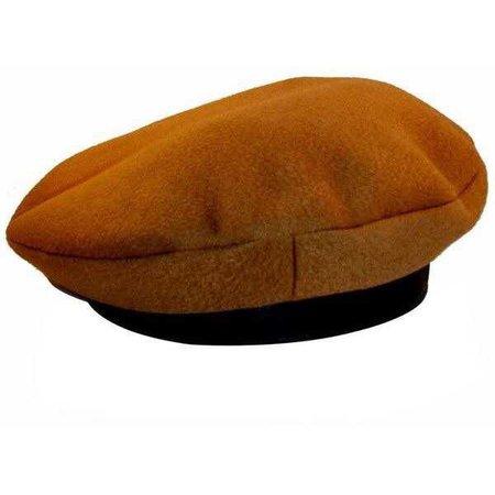 Preowned Hermes Camel Tan Cashmere & Ebene Deerskin Leather Beret Cap... ($650)