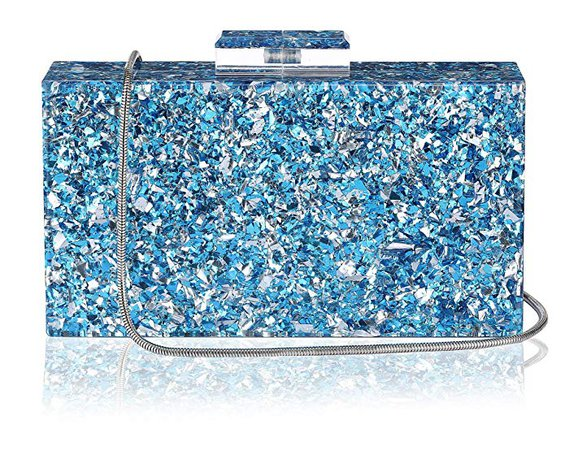 Shiny Acrylic Clutch Purse Perspex Bag Handbags for Women Party (Blue-mirror): Handbags: Amazon.com
