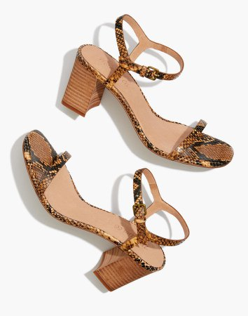 The Hollie Ankle-Strap Sandal in Snake Embossed Leather