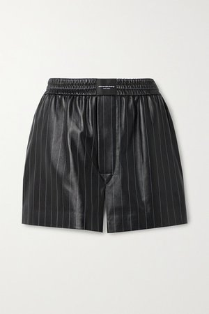 Pinstriped Leather Shorts - Black