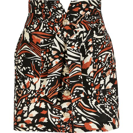 Brown printed button front belted mini skirt | River Island