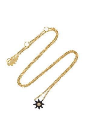 Colette Jewelry Mini Starburst 18K Gold Onyx and Diamond Necklace