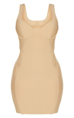 *clipped by @luci-her* Shape Champagne Bandage Panelled Bodycon Dress   PrettyLittleThing USA