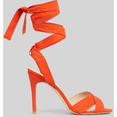 orange lace up heels