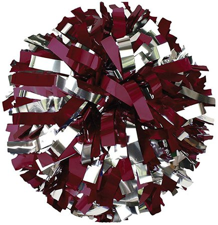 Maroon and Silver Cheer Poms