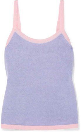 STAUD - Paul Two-tone Knitted Tank - Lilac