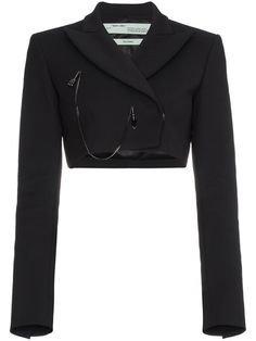 black blazer jacket crop top